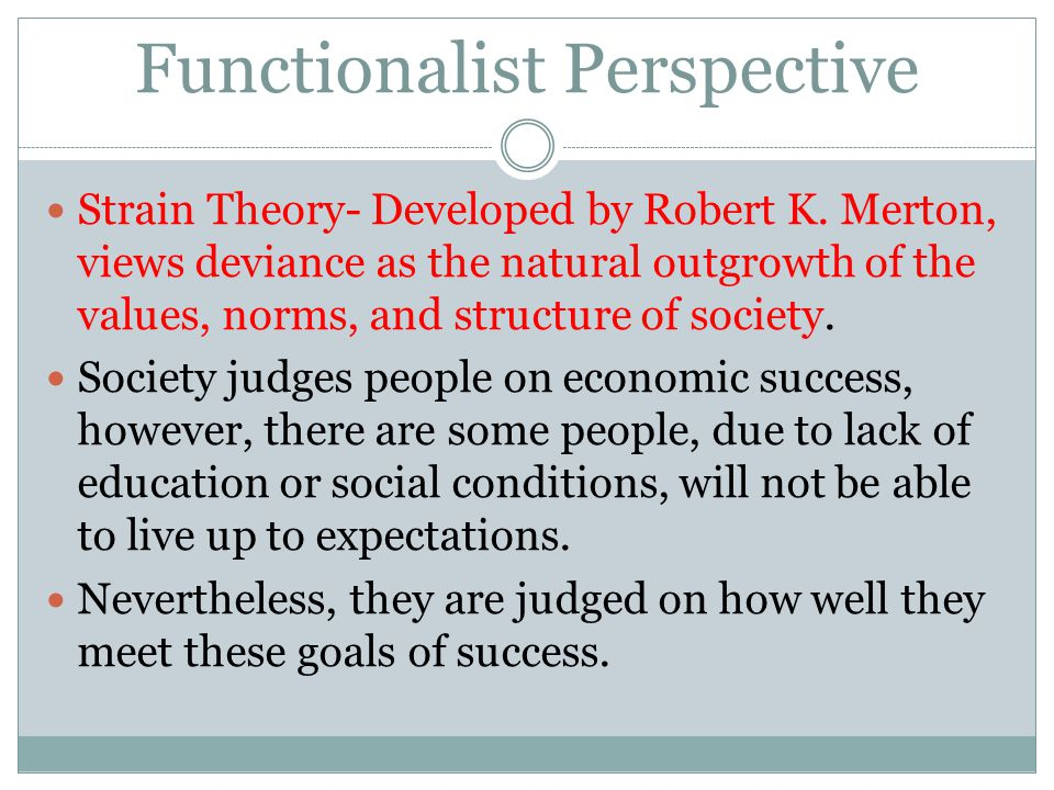 Functionalist Perspective Strain Theory- Developed by Robert K. Merton, views deviance as the natural outgrowth of the values, norms, and structure of
