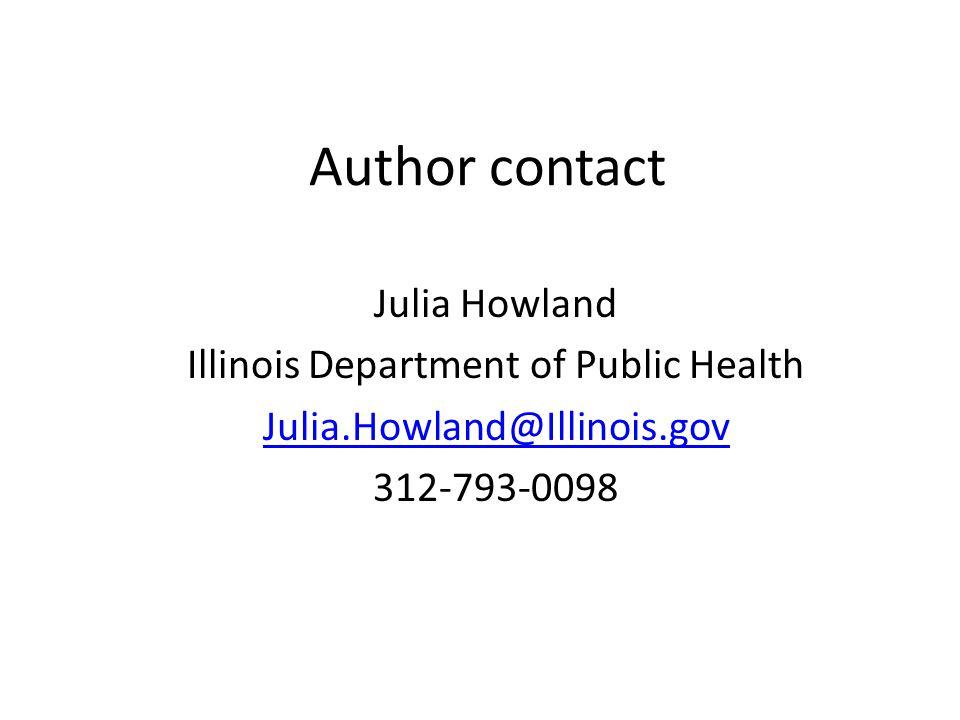 Author contact Julia Howland Illinois Department of Public Health Julia.Howland@Illinois.gov 312-793-0098
