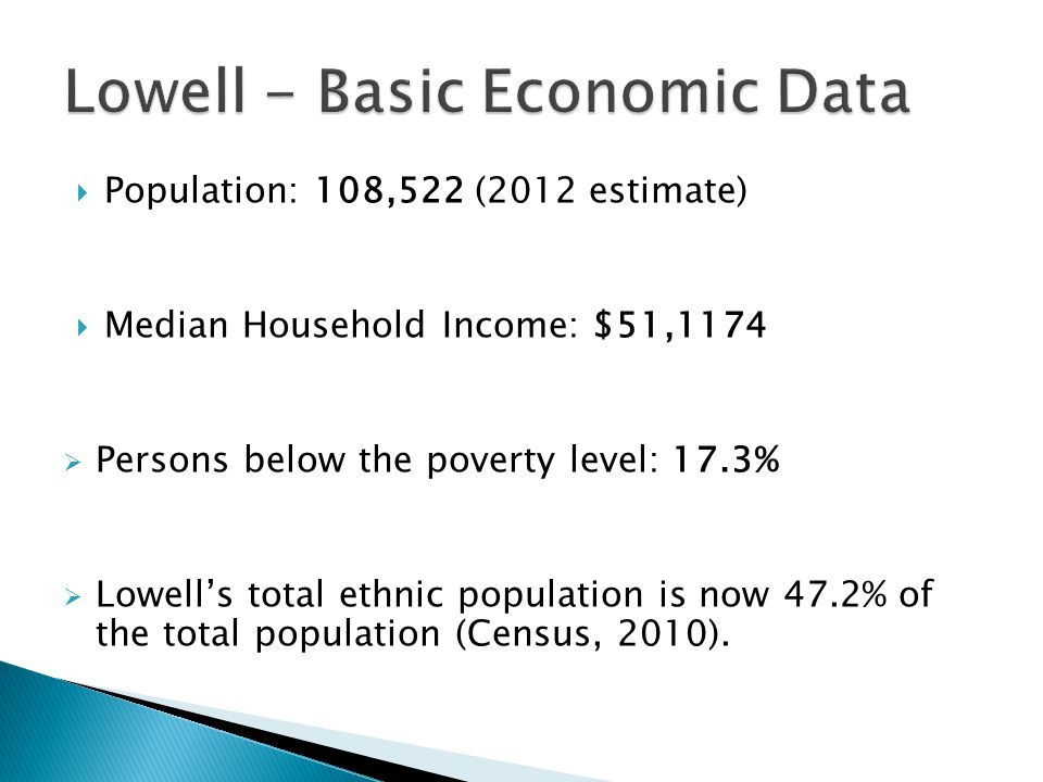  Population: 108,522 (2012 estimate)  Median Household Income: $51,1174  Persons below the poverty level: 17.3%  Lowell's total ethnic population is now 47.2% of the total population (Census, 2010).