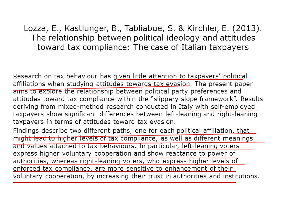 Lozza, E., Kastlunger, B., Tabliabue, S. & Kirchler, E. (2013). The relationship between political ideology and attitudes toward tax compliance: The c
