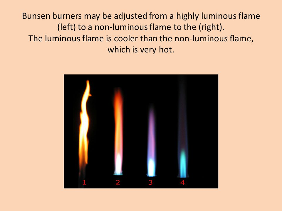 Bunsen burners may be adjusted from a highly luminous flame (left) to a non-luminous flame to the (right). The luminous flame is cooler than the non-l