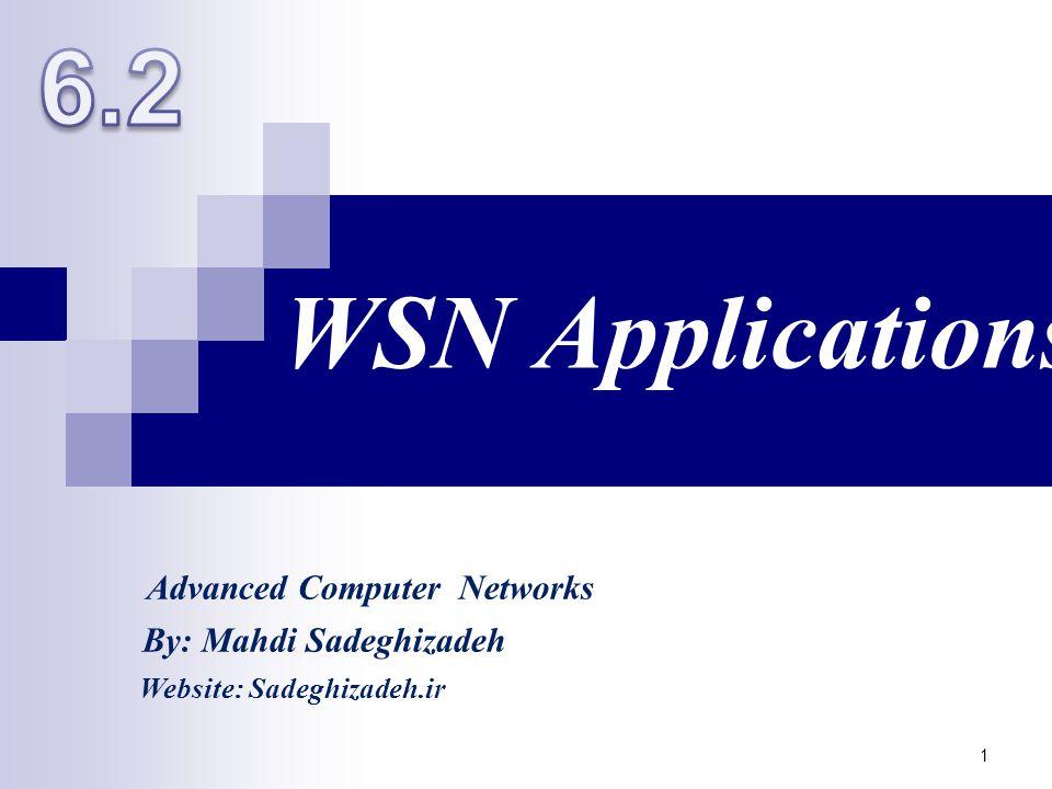 WSN Applications 1 By: Mahdi Sadeghizadeh Website: Sadeghizadeh.ir Advanced Computer Networks