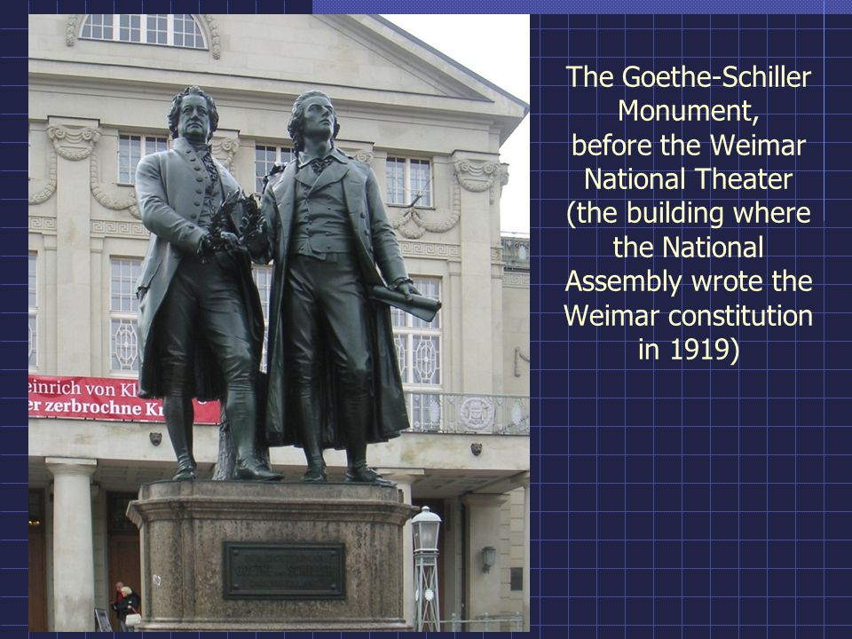 The Goethe-Schiller Monument, before the Weimar National Theater (the building where the National Assembly wrote the Weimar constitution in 1919)