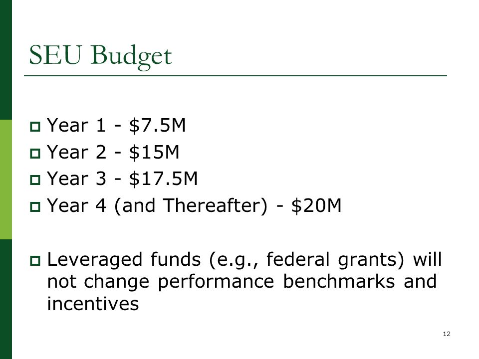 SEU Budget  Year 1 - $7.5M  Year 2 - $15M  Year 3 - $17.5M  Year 4 (and Thereafter) - $20M  Leveraged funds (e.g., federal grants) will not change performance benchmarks and incentives 12
