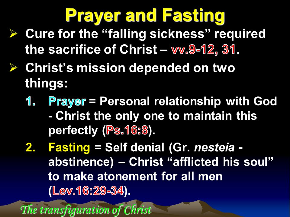Prayer and Fasting The transfiguration of Christ