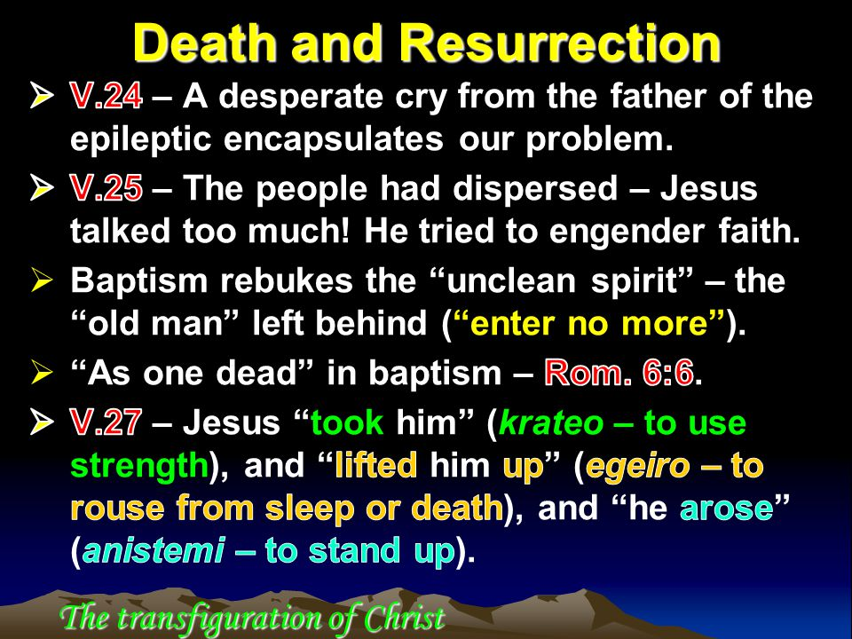 Death and Resurrection The transfiguration of Christ