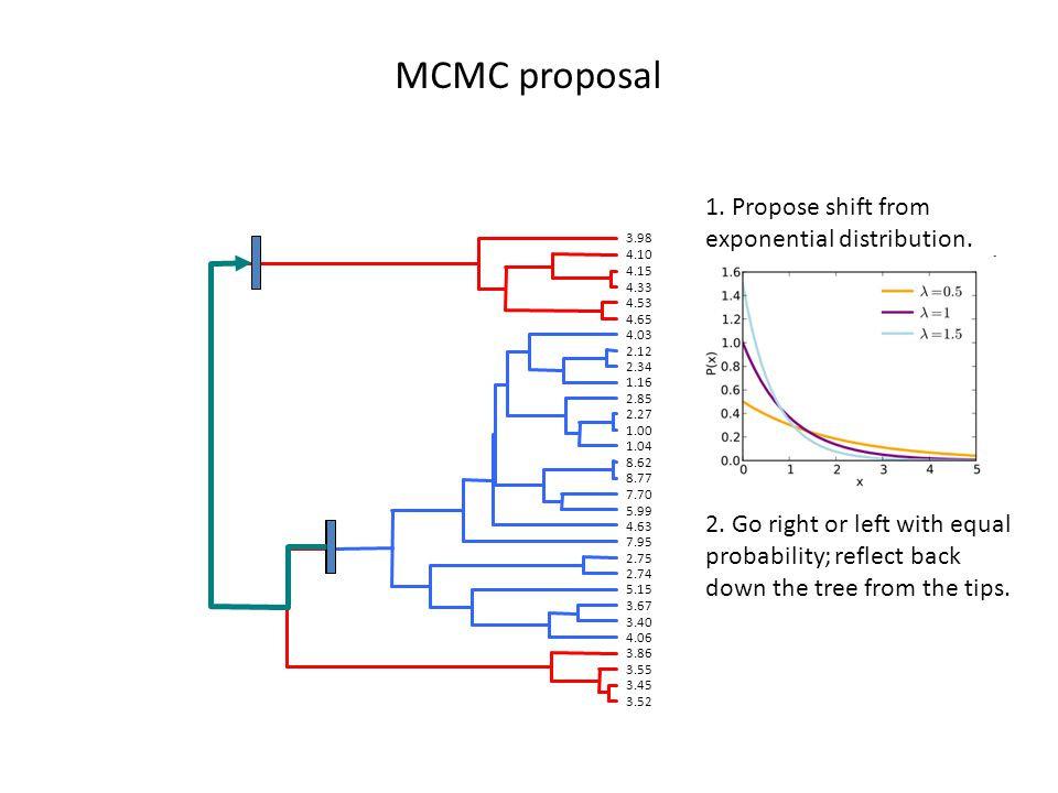 MCMC proposal 1. Propose shift from exponential distribution.