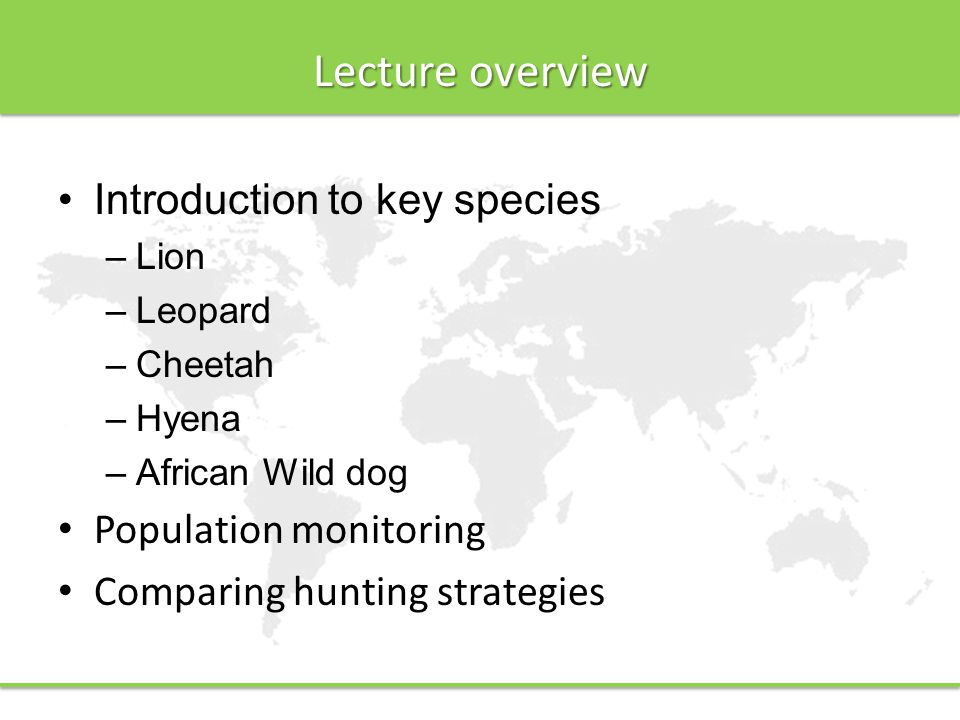 Lecture overview Introduction to key species –Lion –Leopard –Cheetah –Hyena –African Wild dog Population monitoring Comparing hunting strategies