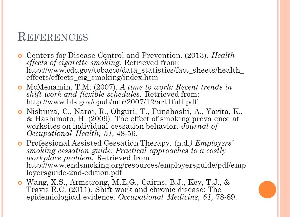 R EFERENCES Centers for Disease Control and Prevention.