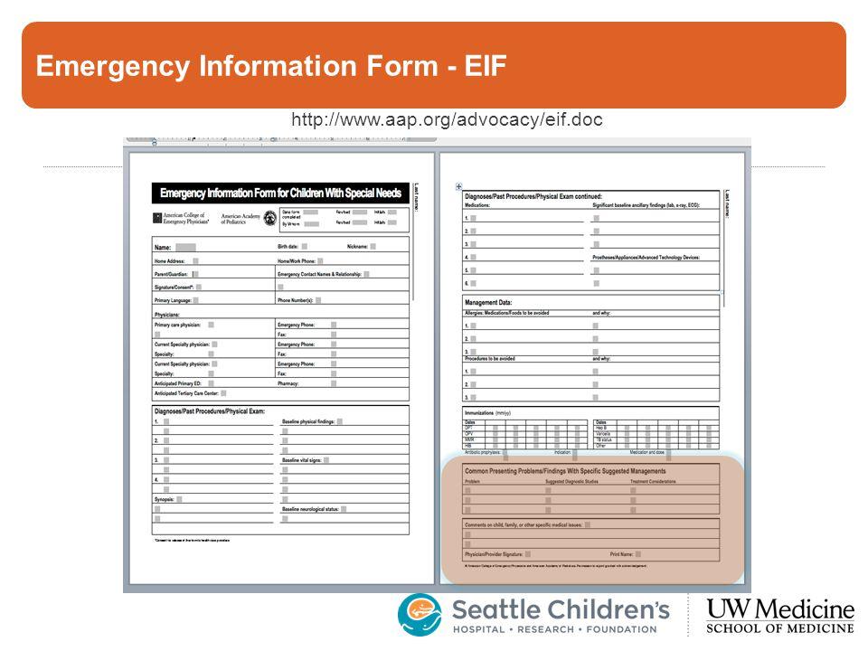 Emergency Information Form - EIF http://www.aap.org/advocacy/eif.doc