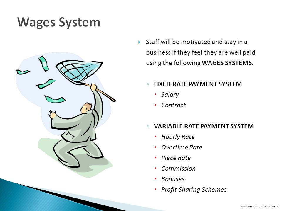 N5 Bus Man – 3.1: HRM © BEST Ltd 10 Wages System  Staff will be motivated and stay in a business if they feel they are well paid using the following WAGES SYSTEMS.