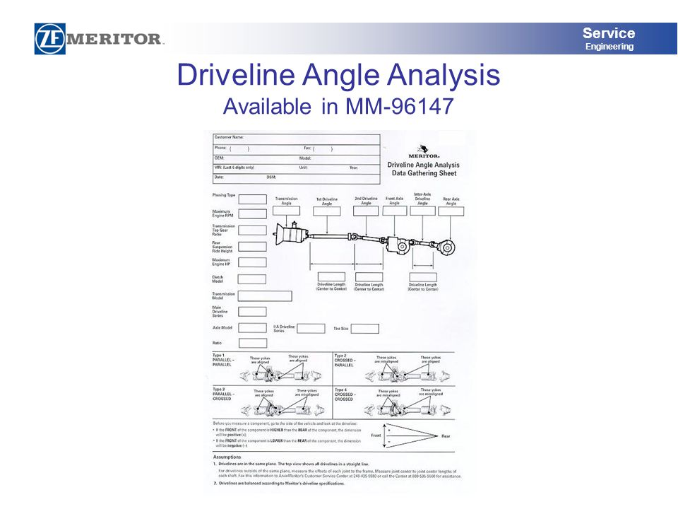 Service Engineering Driveline Angle Analysis Available in MM-96147