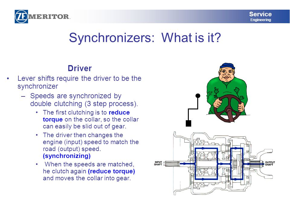 Service Engineering Synchronizers: What is it? Driver Lever shifts require the driver to be the synchronizer –Speeds are synchronized by double clutch