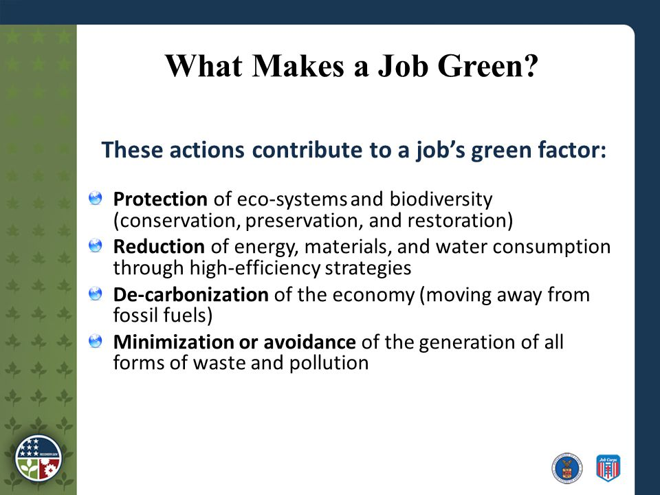 What Makes a Job Green.