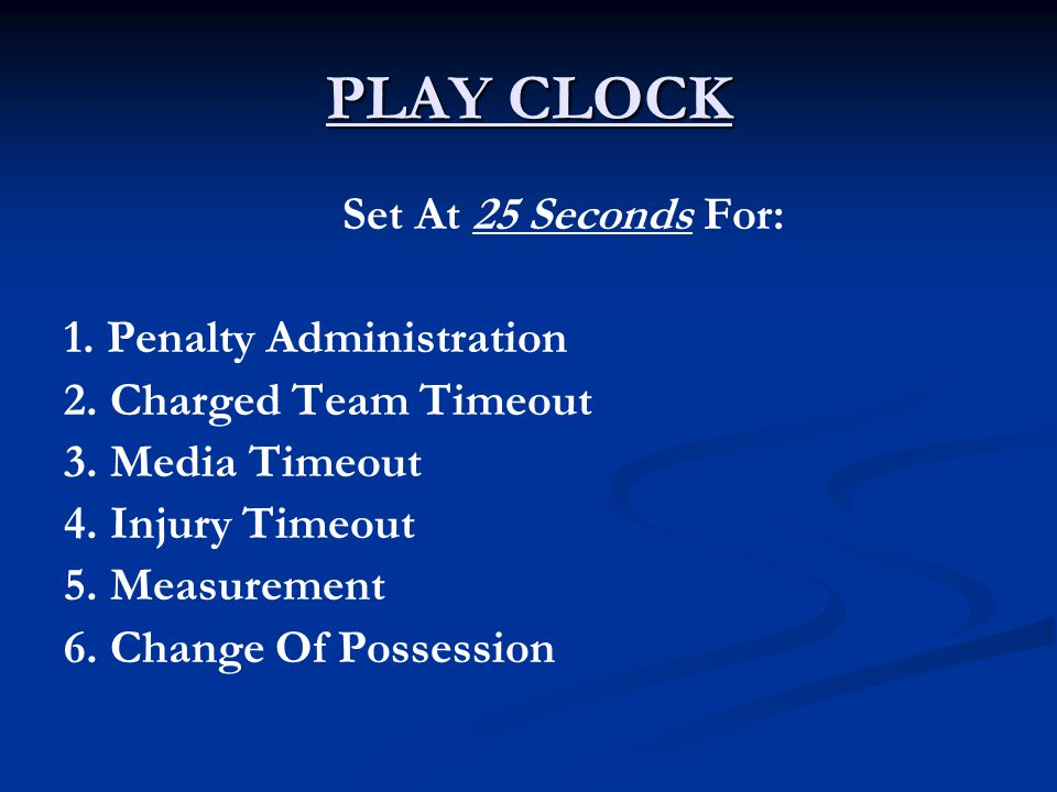 PLAY CLOCK Set At 25 Seconds For: 1. Penalty Administration 2.