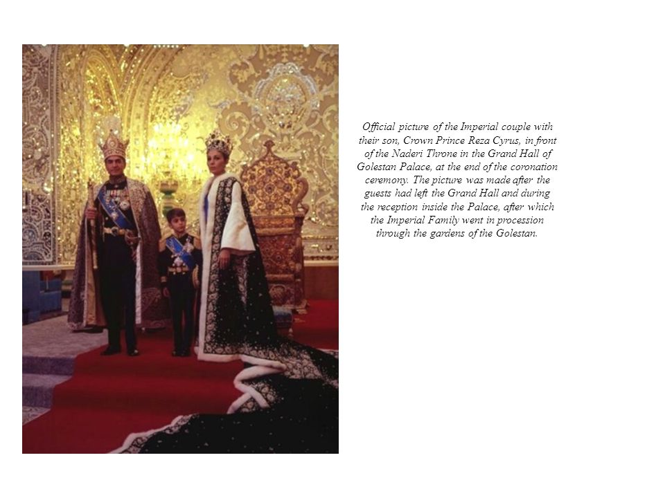 Official picture of the Imperial couple with their son, Crown Prince Reza Cyrus, in front of the Naderi Throne in the Grand Hall of Golestan Palace, a