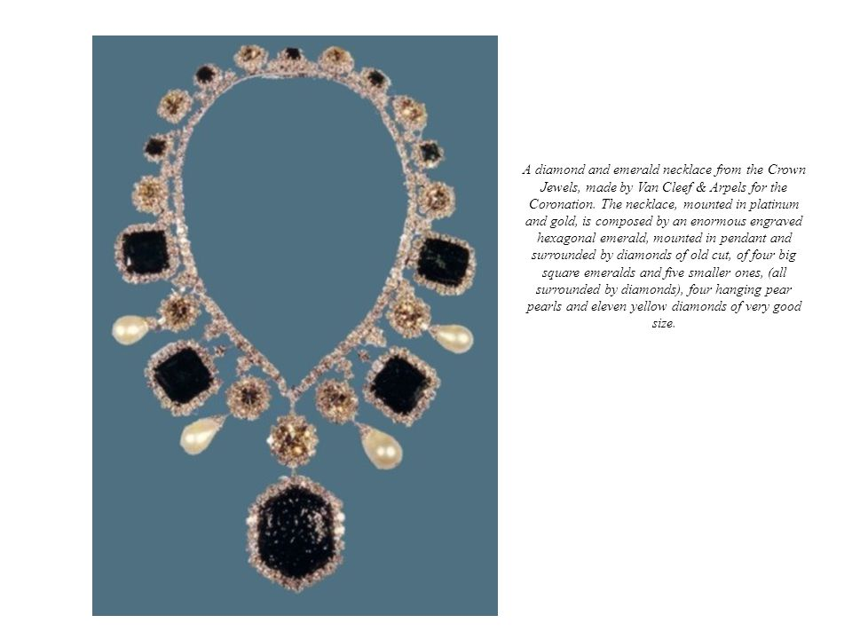 A diamond and emerald necklace from the Crown Jewels, made by Van Cleef & Arpels for the Coronation. The necklace, mounted in platinum and gold, is co