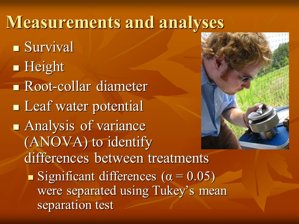 Measurements and analyses Survival Survival Height Height Root-collar diameter Root-collar diameter Leaf water potential Leaf water potential Analysis of variance (ANOVA) to identify differences between treatments Analysis of variance (ANOVA) to identify differences between treatments Significant differences (α = 0.05) were separated using Tukey's mean separation test Significant differences (α = 0.05) were separated using Tukey's mean separation test