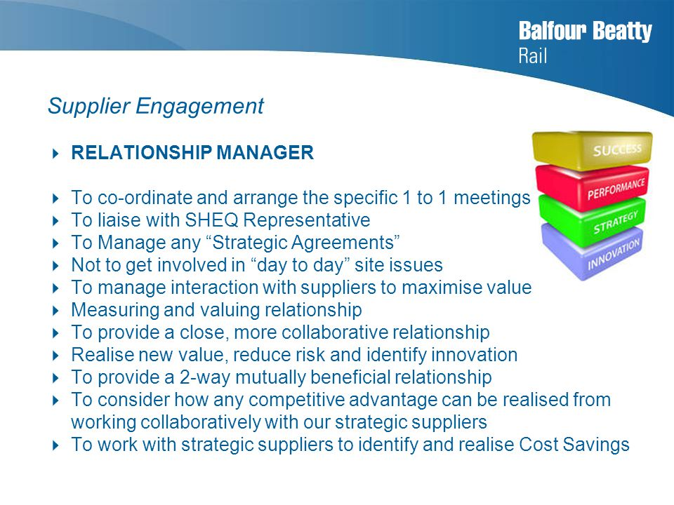 Supplier Engagement  RELATIONSHIP MANAGER  To co-ordinate and arrange the specific 1 to 1 meetings  To liaise with SHEQ Representative  To Manage any Strategic Agreements  Not to get involved in day to day site issues  To manage interaction with suppliers to maximise value  Measuring and valuing relationship  To provide a close, more collaborative relationship  Realise new value, reduce risk and identify innovation  To provide a 2-way mutually beneficial relationship  To consider how any competitive advantage can be realised from working collaboratively with our strategic suppliers  To work with strategic suppliers to identify and realise Cost Savings