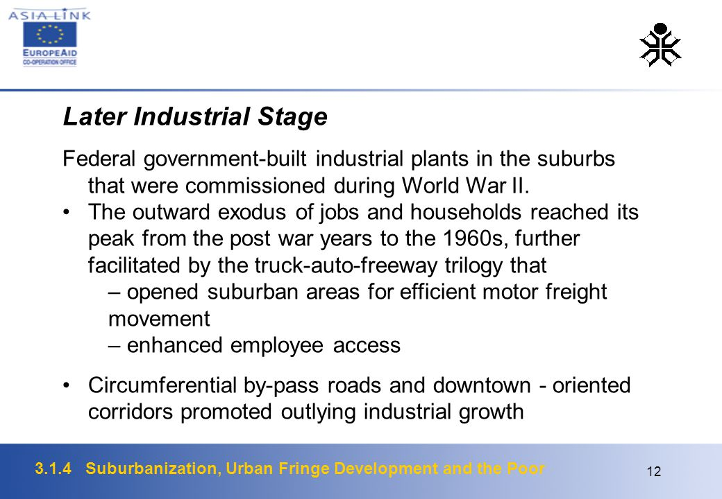 3.1.4 Suburbanization, Urban Fringe Development and the Poor 12 Later Industrial Stage Federal government-built industrial plants in the suburbs that