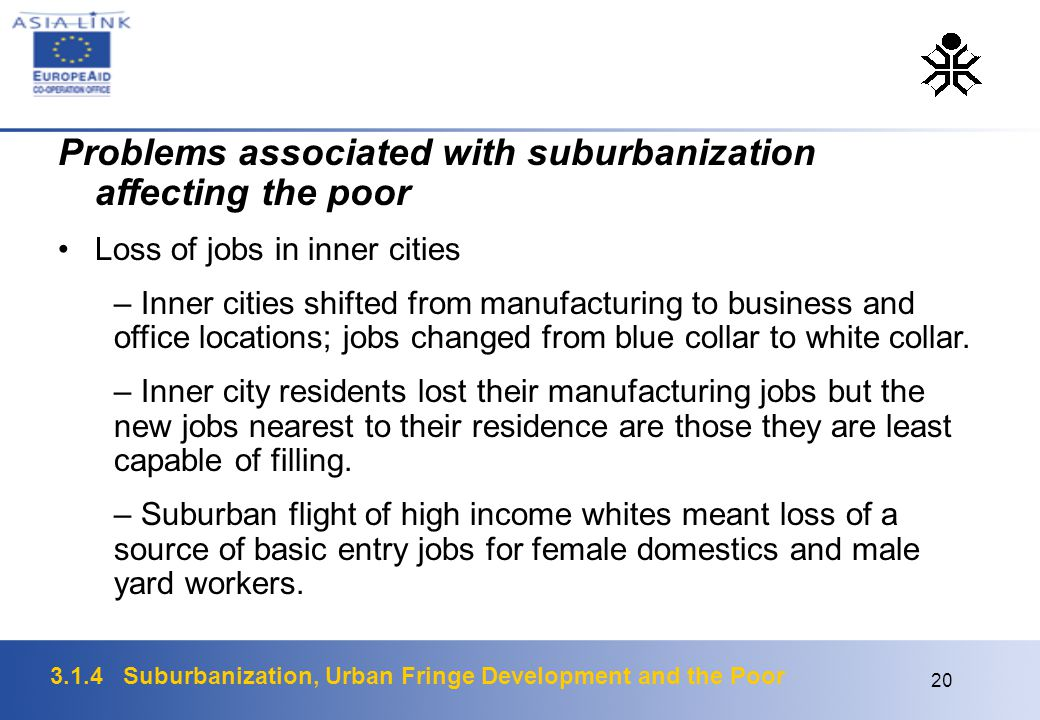 3.1.4 Suburbanization, Urban Fringe Development and the Poor 20 Problems associated with suburbanization affecting the poor Loss of jobs in inner cities – Inner cities shifted from manufacturing to business and office locations; jobs changed from blue collar to white collar.