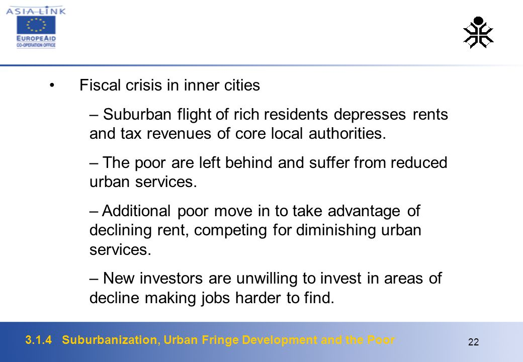 3.1.4 Suburbanization, Urban Fringe Development and the Poor 22 Fiscal crisis in inner cities – Suburban flight of rich residents depresses rents and