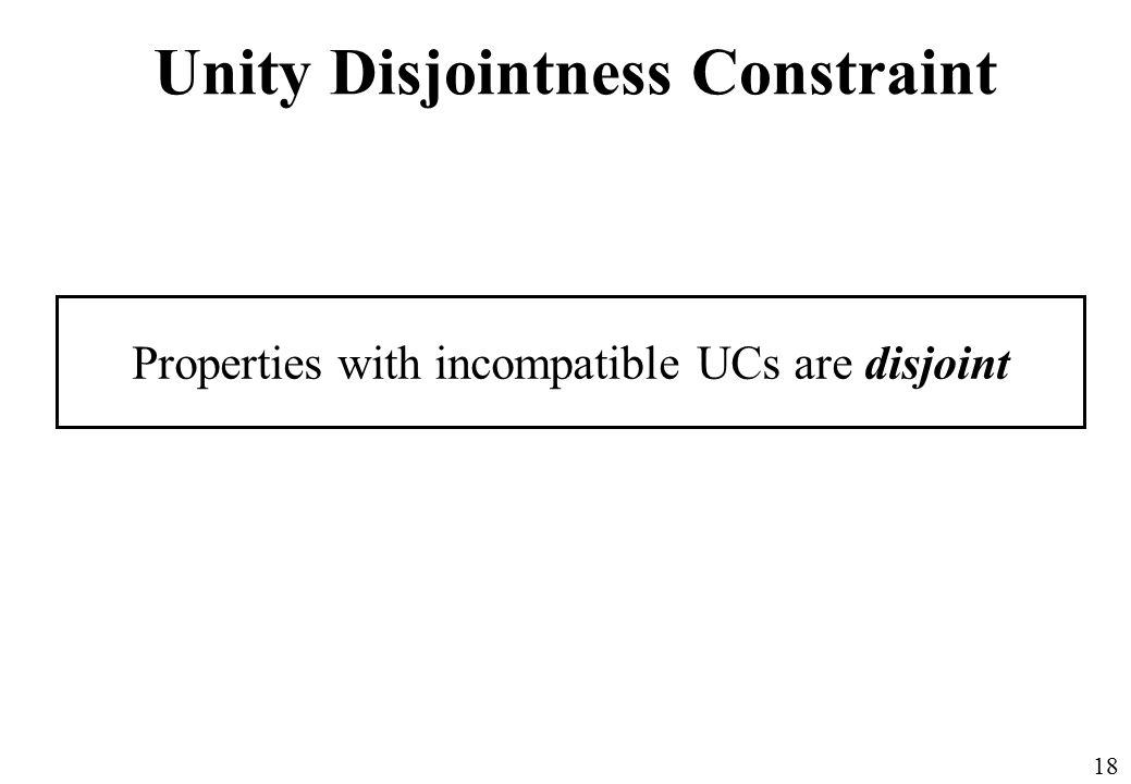 18 Unity Disjointness Constraint Properties with incompatible UCs are disjoint