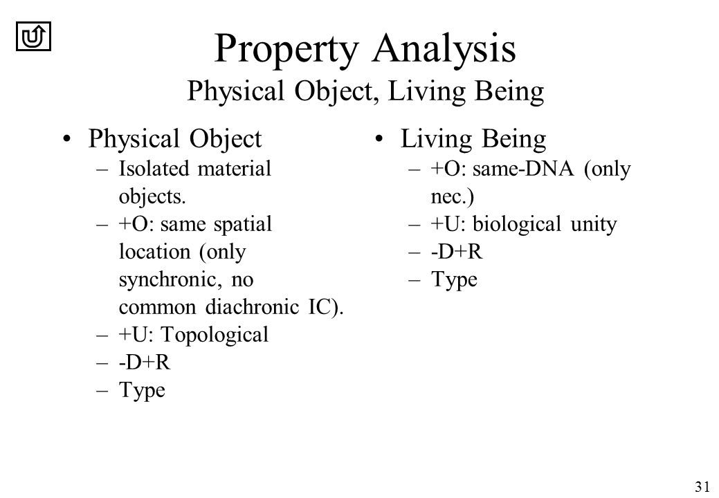 31 Property Analysis Physical Object, Living Being Physical Object –Isolated material objects.