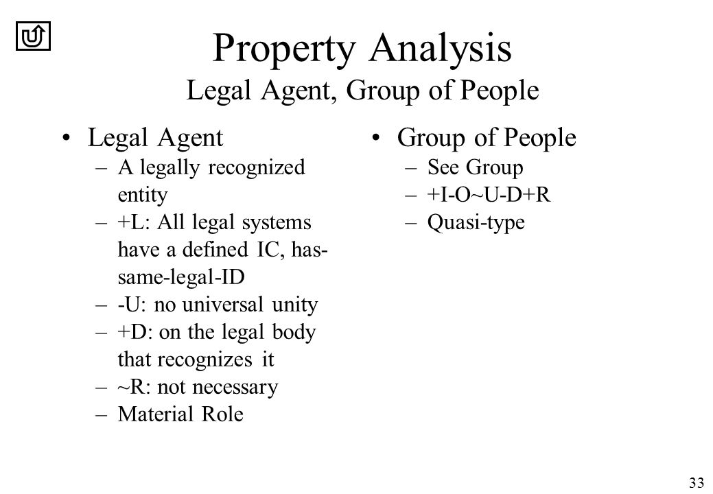 33 Property Analysis Legal Agent, Group of People Legal Agent –A legally recognized entity –+L: All legal systems have a defined IC, has- same-legal-ID –-U: no universal unity –+D: on the legal body that recognizes it –~R: not necessary –Material Role Group of People –See Group –+I-O~U-D+R –Quasi-type