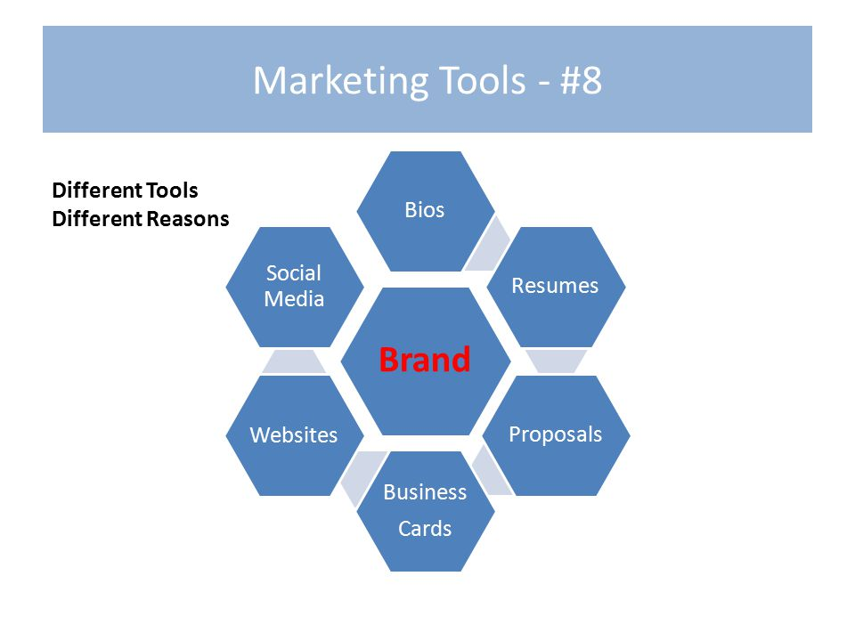 Marketing Tools - #8 Brand BiosResumes Proposals Business Cards Websites Social Media Different Tools Different Reasons