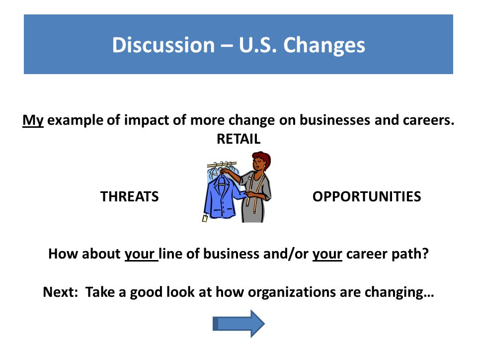 Discussion – U.S. Changes My example of impact of more change on businesses and careers.