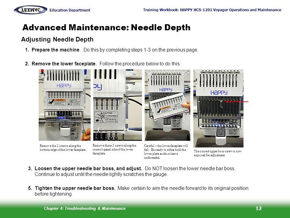 Training Workbook: HAPPY HCS-1201 Voyager Operations and Maintenance Education Department Chapter 4: Troubleshooting & Maintenance 12 Adjusting Needle