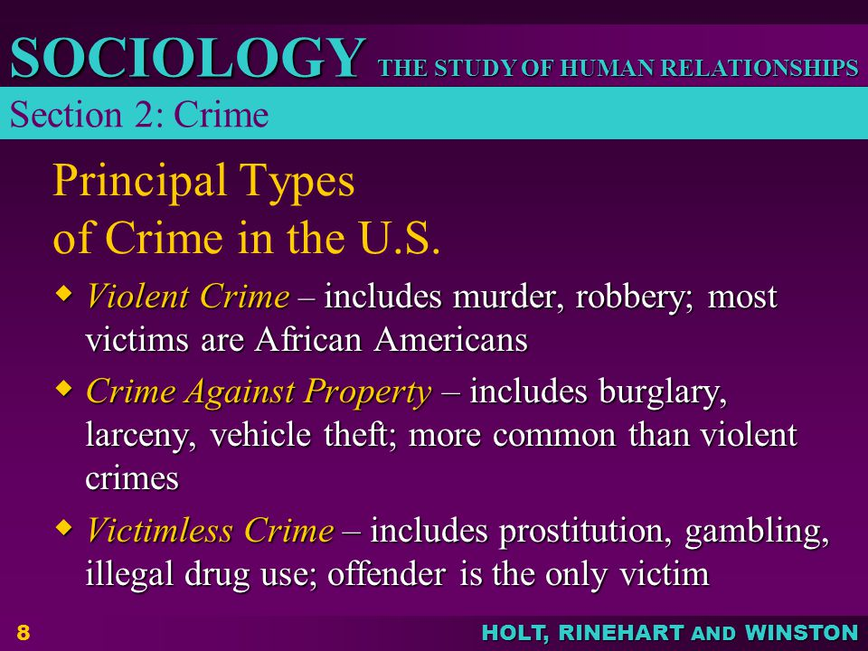 THE STUDY OF HUMAN RELATIONSHIPS SOCIOLOGY HOLT, RINEHART AND WINSTON 9 Principal Types of Crime in the U.S.
