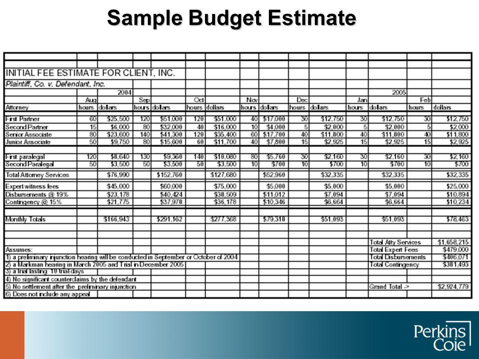 Sample Budget Estimate