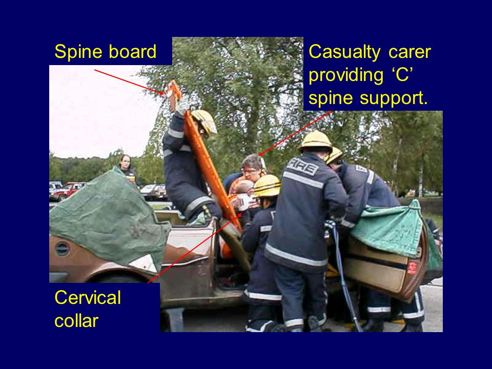 Spine board Cervical collar Casualty carer providing 'C' spine support.