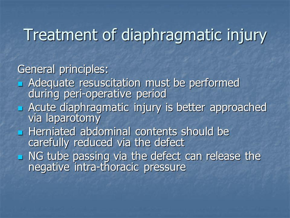 Treatment of diaphragmatic injury General principles: Adequate resuscitation must be performed during peri-operative period Adequate resuscitation mus