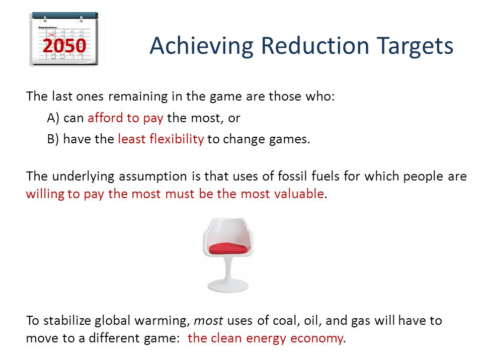 Achieving Reduction Targets The last ones remaining in the game are those who: A) can afford to pay the most, or B) have the least flexibility to change games.
