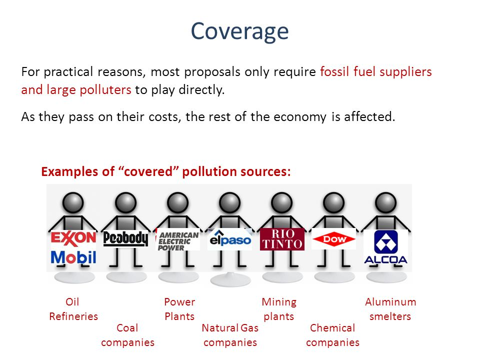 Coverage For practical reasons, most proposals only require fossil fuel suppliers and large polluters to play directly.