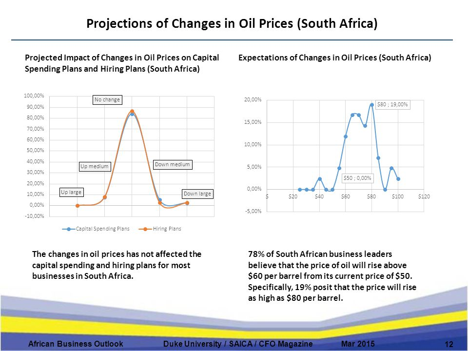 Projections of Changes in Oil Prices (South Africa) 12 African Business Outlook Duke University / SAICA / CFO Magazine Mar 2015 Projected Impact of Changes in Oil Prices on Capital Spending Plans and Hiring Plans (South Africa) Expectations of Changes in Oil Prices (South Africa) The changes in oil prices has not affected the capital spending and hiring plans for most businesses in South Africa.