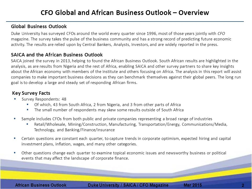 CFO Global and African Business Outlook – Overview 2 African Business Outlook Duke University / SAICA / CFO Magazine Mar 2015 Global Business Outlook Duke University has surveyed CFOs around the world every quarter since 1996, most of those years jointly with CFO magazine.