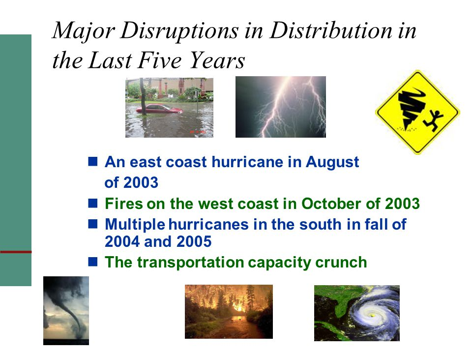 Major Disruptions in Distribution in the Last Five Years An east coast hurricane in August of 2003 Fires on the west coast in October of 2003 Multiple hurricanes in the south in fall of 2004 and 2005 The transportation capacity crunch