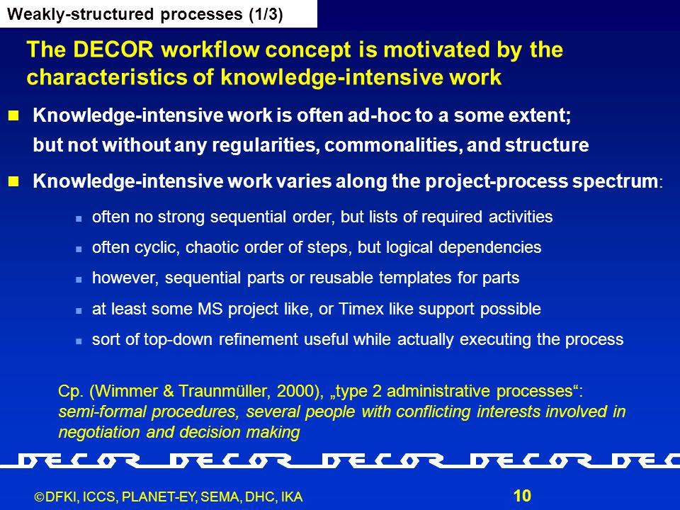  DFKI, ICCS, PLANET-EY, SEMA, DHC, IKA 10 The DECOR workflow concept is motivated by the characteristics of knowledge-intensive work Weakly-structure