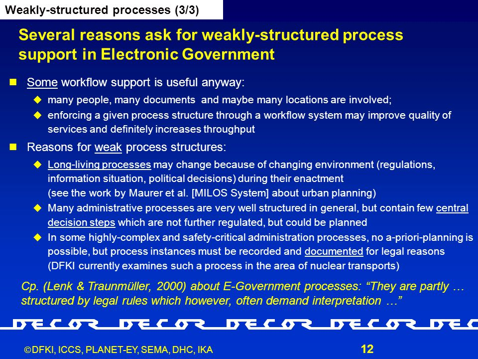  DFKI, ICCS, PLANET-EY, SEMA, DHC, IKA 12 Several reasons ask for weakly-structured process support in Electronic Government Some workflow support is useful anyway:  many people, many documents and maybe many locations are involved;  enforcing a given process structure through a workflow system may improve quality of services and definitely increases throughput Reasons for weak process structures:  Long-living processes may change because of changing environment (regulations, information situation, political decisions) during their enactment (see the work by Maurer et al.
