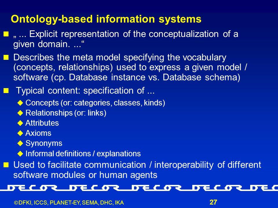 " DFKI, ICCS, PLANET-EY, SEMA, DHC, IKA 27 Ontology-based information systems ""..."