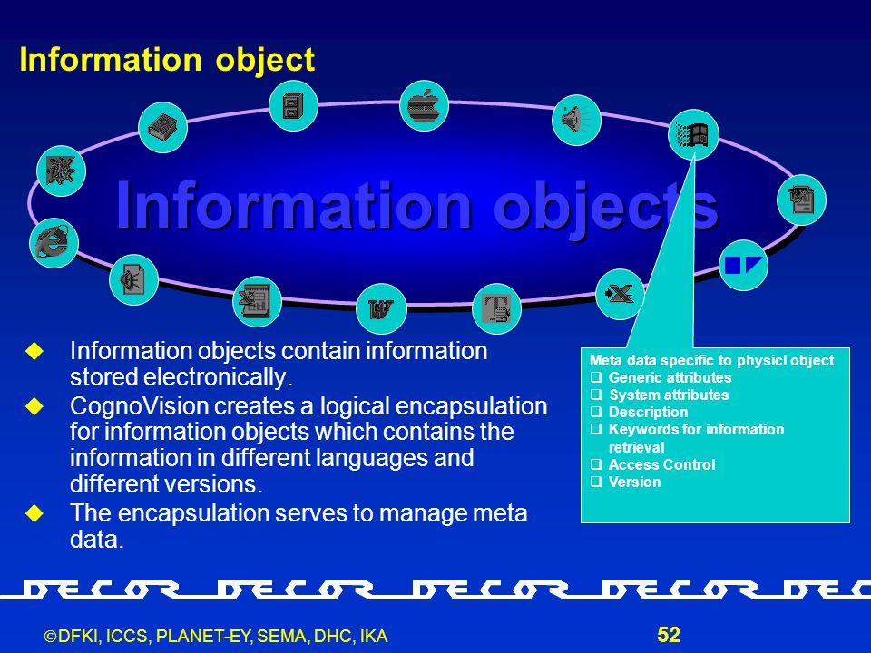  DFKI, ICCS, PLANET-EY, SEMA, DHC, IKA 52 Information object  Information objects contain information stored electronically.