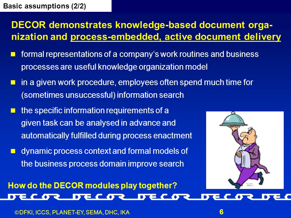  DFKI, ICCS, PLANET-EY, SEMA, DHC, IKA 6 DECOR demonstrates knowledge-based document orga- nization and process-embedded, active document delivery formal representations of a company's work routines and business processes are useful knowledge organization model in a given work procedure, employees often spend much time for (sometimes unsuccessful) information search the specific information requirements of a given task can be analysed in advance and automatically fulfilled during process enactment dynamic process context and formal models of the business process domain improve search Basic assumptions (2/2) How do the DECOR modules play together