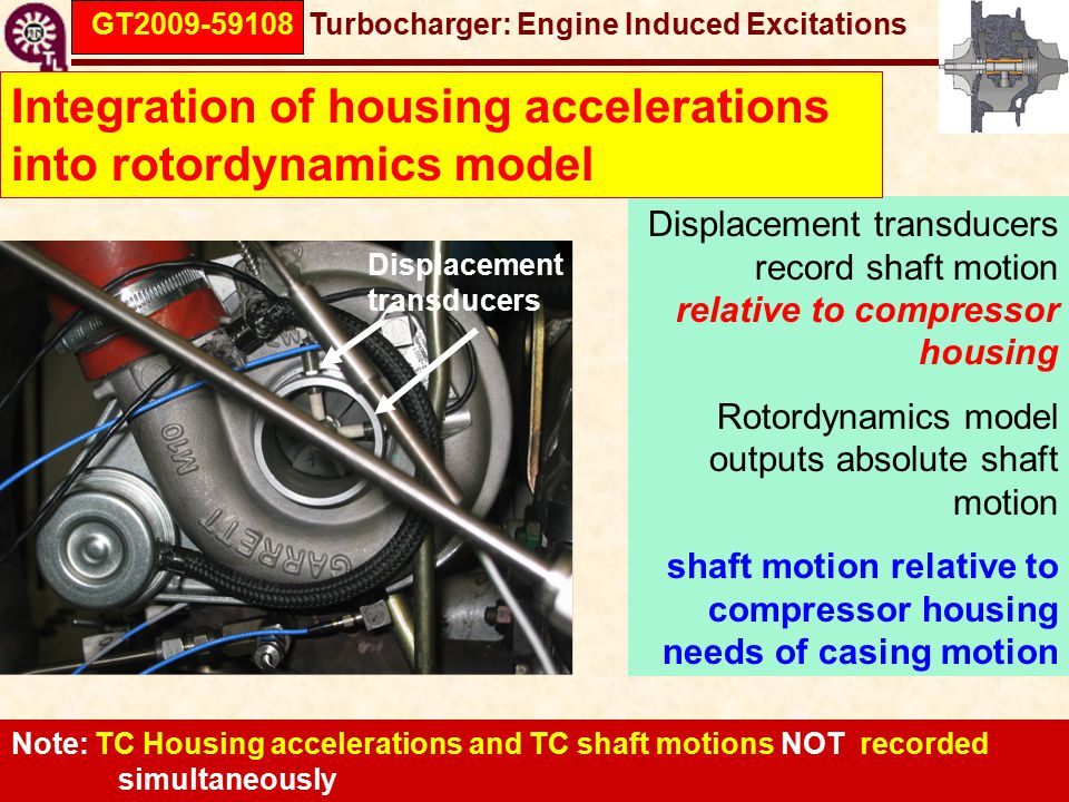 GT2009-59108 Turbocharger: Engine Induced Excitations Displacement transducers Displacement transducers record shaft motion relative to compressor housing Rotordynamics model outputs absolute shaft motion shaft motion relative to compressor housing needs of casing motion Integration of housing accelerations into rotordynamics model Note: TC Housing accelerations and TC shaft motions NOT recorded simultaneously