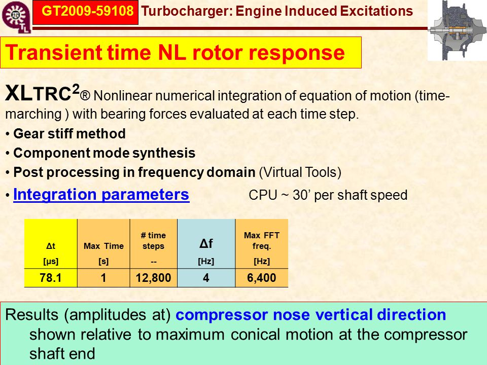 GT2009-59108 Turbocharger: Engine Induced Excitations Transient time NL rotor response XL TRC 2 ® Nonlinear numerical integration of equation of motion (time- marching ) with bearing forces evaluated at each time step.