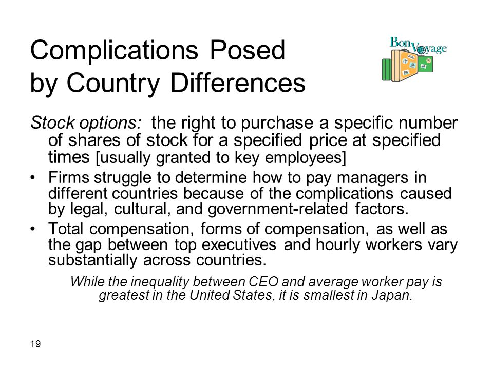 19 Complications Posed by Country Differences Stock options: the right to purchase a specific number of shares of stock for a specified price at specified times [usually granted to key employees] Firms struggle to determine how to pay managers in different countries because of the complications caused by legal, cultural, and government-related factors.