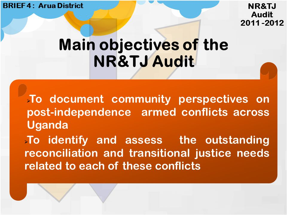 NATIONAL RECONCILIATION & TRANSITIONAL JUSTICE AUDIT BEYOND JUBA PROJECT www.beyondjubaproject.org 2011 -2012 BRIEF 4 : ARUA DISTRICT